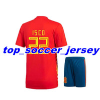 a2c68ec0a Soccer Short Polyester 2018 world cup red Soccer Jersey kit set Spain home  soccer shirt 2018