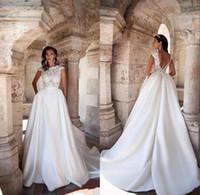 Wholesale Taffeta Wedding Dresses Pockets - Vintage 2017 A Line Wedding Gowns With Pockets Jewel Cap Sleeves V Back Sweep Train Bridal Dresses