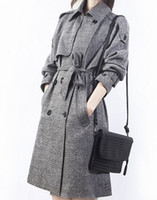 Wholesale Korean Leather Trench Coat - New Arrival Hot Sale Fashion Noble Female Slim Spring Korean High Quality Long Plaid Spring Grey Double Breasted Palace Long Trench Coat