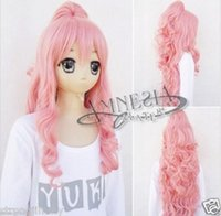 Wholesale Pink Ponytail Wig Long - Wholesale free shipping >>HOT Amnesia Mine Cosplay Costume long wavy pink Wig clip ponytail z976