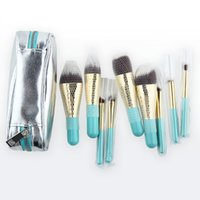 Wholesale Beautiful Hair Pieces - Anmor Hot Sale 9 Pieces Synthetic Hair Makeup Brushes with Sliver Color Bag Beautiful Traveling Make Up Brush Set B001