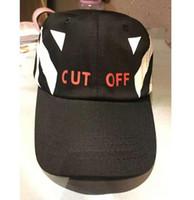 Wholesale Cut Cap Hat - 2017 Best version Korean hip hop men women snapback Baseball Cap CUT off white stripe camouflage Baseball Hat Black and white