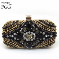 Wholesale Golden Barrel - Wholesale- American Brand Women's Black Evening Clutch Bags Golden Chains Crystal Patchwork Wedding Party Cocktail Handbag Clutches Purse