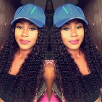 Wholesale Short Lace Cap Wigs - Brazilian Pre Plucked Lace Frontal Kinky Curly 6-24inch Natural Hairline Peruvian Remy Human Hair With Cap And Elastic Straps Knots