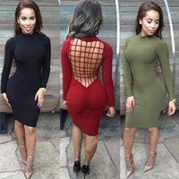 longue tenue achat en gros de-Femmes Bodycon Dress Summer Solid Long Sleeve Hollow Out Back Bandage Dress Mode Sexy Slim Fit Robes Vestidos