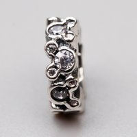Wholesale Silver Bracelets Stopper - Cartoon Spacer Charms Beads Original 925 Sterling-Silver-Jewelry Clear CZ Micro Pave Charm Stopper Bead DIY Brand Logo Bracelet Accessories