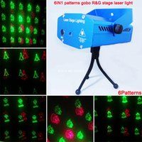 Wholesale Green Laser Dance Light - Wholesale-new mini Red Green Laser 6 patterns Christmas projector Party DJ Lighting lights Disco bar Dance xmas stage Light show XL79 free