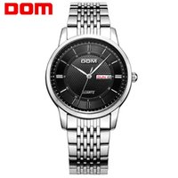 Wholesale Dom Ceramic - masculino watch DOM men watch top Luxury Men Quartz Analog Clock Leather Steel Strap Watches hours Complete Calendar Relogios Masculino M-11