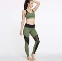 Wholesale Yoga Pants Women New Fashion - 2017 new fashion army green yoga clothes zipper sports bra bra splicing yoga pants fitness yoga suit