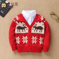 Wholesale Baby Children Clothes Boy Girl Knit Cardigan Sweater Turn down Collar Cotton Christmas Deer Pattern Outerwear