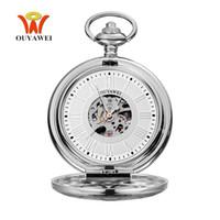 manecillas del reloj analógico al por mayor-Top Brand OYW Mecánico Mano Viento Reloj de Bolsillo Hombres Hombre Plata Blanco Bolsillo Reloj de Bolsillo Reloj Analógico Steampunk Hombres Hombre Relogio
