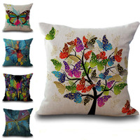 Wholesale decorative butterfly pillows - Colors Monarch Butterfly Pillow Case Cushion Cover Linen Cotton Throw Pillowcases Sofa Car Decorative Pillowcover drop ship PW572