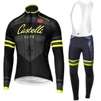 Wholesale Cycling Sleeves Winter Wear - 2016 Cast Cafe Yellow Letter Cycling Jerseys Autumn Winter Thermal Fleece Ropa Ciclismo Long Sleeves Bike Wear Close Fit Bicycle Clothin