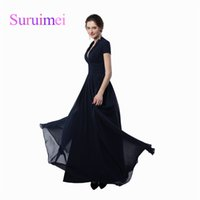 Wholesale Sexy Short Long Dressed - New Arrivals 2017 V Neck Prom Long Dresses Sexy Vestidos de Noiva Short Sleeves Chiffon Fabric Formal Evening Gowns