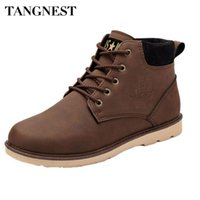 Wholesale British Martin - Wholesale-Tangnest Men Boots 2016 Autumn New PU Leather Waterproof Men Martin Boots British Style Ankle Boots Casual Shoes Man XMX407