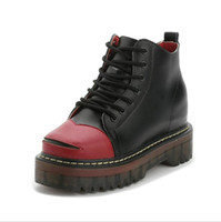 Femmes lacent Martin Boots Cuir véritable Combat Punk Ankle Boots plate-forme oxfords chaussures taille 35-40