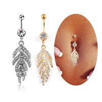 Leaf Feather Dangle Belly Button Anéis Moda Cristal de aço inoxidável para mulheres Punk Sexy Navel Surgical Piercings Body Jewelry