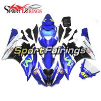 Carrinhos de injeção para Yamaha YZF 600 R6 YZF-R6 06 07 2006 2007 ABS Motorcycle Fairing Kit Bodywork Complete Cowlings Blue White 46