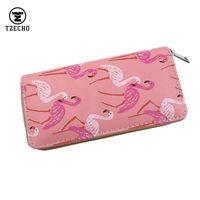 Wholesale Zipper Phone Purse - Wholesale- TZECHO Women Clutch Zipper Wallet PU Cross Pattern Prints Cartoon Flamingo Female Purses Phone Credit Card Holder For Women