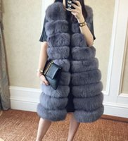 Wholesale Fake Hooks - Faux Fur Coat Women Winter gilet female Super Long Fake Fur Vests With Furry Vest Female Abrigos Mujer Waistcoat