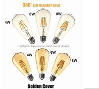 3w globo colorido rgb led venda por atacado-Super Bright E27 Led Filament Ampolas 360 Ângulo st64Led Luzes Edison Lamp 4W / 6W / 8W 110-240V 6pcs