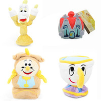 """Wholesale Wholesale House Stuff - New EMS 4Pcs Lot 4""""-7"""" Lumiere Chip Cogsworth House Plush Doll Beauty and The Beast Anime Collectible Dolls Gifts Soft Stuffed Toys"""