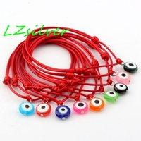 wachsharz großhandel-Heißer Verkauf! 100 Stück rotes Wachs Seil Mischfarbe Harz Evil Eye Perlen Charm verstellbare Armbänder