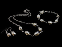 Wholesale Cultured Pearl Necklace Set - Natural Cultured Freshwater Pearl Jewelry Sets bracelet & earring & necklace
