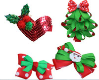 Wholesale Hair Ribbon Dhl - Jiafei Christmas Girl Hair Barrettes funny decorations 8 styles Tree Love Heart Bell Xmas father Hair clipper 100pcs DHL free ship