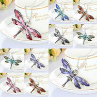Wholesale Girl Rhinestone Charms - Wholesale- Retro Style Dragonfly Crystal Pendant Necklace Rhinestone Statement Chain Necklace Charm for Women Girl Jewelry