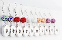 18mm weiße perlen großhandel-Großhandelsweiß K Noosa 18mm Metallkristall bördelt Schmucksache-Ohrringe baumeln Leuchter-Trend DIY Schmuck-austauschbare Ohrringe