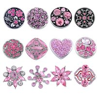 Wholesale Pink Rhinestone Charms - Kimter Snap Button Mixed Metal Rhinestone Pink Black 18mm For Noosa Bracelets DIY Variety Jewelry Charms Christmas Gift 12pcs Lot N1E