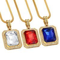 Mens Bling Gem Iced Out Pendentif Hip Hop Rappers Micro Octagon Square Rinestone Couleur Pendentif en pierre Pendentifs Punk Jewelry collier fille fille