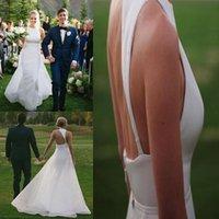 Wholesale Asymmetrical Train Wedding Dress - Sexy Country Backless Wedding Dresses Halter Sleeveless Asymmetrical Back Satin Organza Custom Made Wedding Dresses 2017 Bridal Gowns