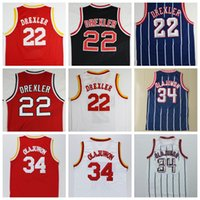 Wholesale Francis M - Cheap Men's 22 Clyde Drexler Jersey 34 Hakeem Olajuwon 3 Steve Francis Basketball Jerseys Retro Throwback Black Red White Blue Stripe