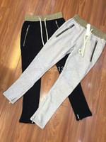 Wholesale Korea Grey Pants - KOM newest Korea hip hop unisex black grey justin bieber fear of god FOG zipper harem pants summer zippers pants jogger S-XXL