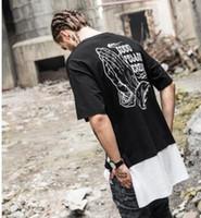 Wholesale Loose Side Shirts - 2017 men's personality trend short-sleeved fashion loose t-shirt summer printing splicing longer sides bifurcated short sleeve