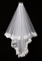 Wholesale Wedding Veils For Muslim Brides - Elegant White Ivory Two Layers Tulle Net Tulle Bride Veil 1.5m Long Lace Edge Tulle Veil For Wedding New Free Shipping SLV002