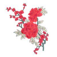 Wholesale Diy Clothes Dress Flowers - 1PC 2PCS Embroidery Rose Flower Sew On Patch Dress Hat Bag Jeans Applique Crafts Clothing Accessories DIY