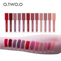 Wholesale orange lipstick nude for sale - Group buy Sexy Long Lasting Waterproof Velvet Lipstick O TWO O Lip Gloss Makeup Moisturizer Nude Color Liquid Matte Lips Lipstick