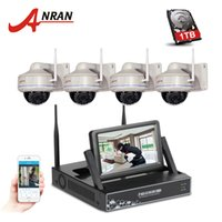 Wholesale Cctv Wifi Dome - ANRAN 7 Inch Screen Video Surveillance Kit 4CH Wireless NVR Outdoor Dome 30 IR 720P HD Security IP Camera Wifi CCTV System 1TB HDD Optional