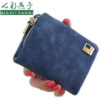 Atacado- 8.5 * 10.5 * 3cm Mulheres Short Leather Wallets 2017 Mini Money Clip Bolsas Multifuctional Embreagem Change Coin Bags Zipper 3-folds J445
