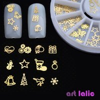 Wholesale Gold Metal Sticker Slices Wheel - Wholesale- 3D Gold Metal Christmas Nail Art Decoration Slice Stickers Decal Foil Wheel NEW