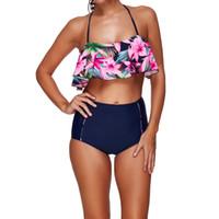 Wholesale Underwire Swimwear Women - 2017 Floral Print Push Up Ruffled Backless Bikinis Sets Swimwear High Waisted Underwire For Women Swimsuit Beachwear Bathing Suit S M-3XL