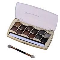 Wholesale Bright Green Eyeshadow - Wholesale-Professional 12 Colors Diamond Palette Super Flash Bright Color Eyeshadow palette Maquiagem Glitter With eyeshadow Brush Kit