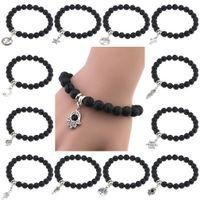 Wholesale Tin Box Ball - New Fashion High Quality Lava Stone Beads And Black Ball Men Charm Bracelets Men Jewelry Gift.