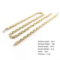 bisutería de oro para hombre al por mayor-Nueva llegada fresca garantizada 316L de acero inoxidable para mujer para hombre traje de plata pulsera de oro collar de joyería de moda