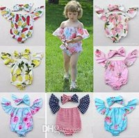Wholesale Green Baby Girl Rompers - cotton baby rompers set boat neck onesie flutter sleeve tops girls flower headbands + floral bodysuits 4th of july toddler clothes pineapple