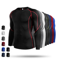 Wholesale Muscle Mens Shirts - Men Long sleeves Sport Shirt Compression Fitness Eastic Gym Running Shirt Top Mens' Sportswear Jersey Thermal Muscle Training Shirt Clothing
