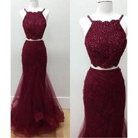 Wholesale Spaghetti Dress Real Photos - 2017 Burgundy Prom Dresses Two Pieces Real Photos Spaghetti Straps Lace And Tulle Mermaid Custom Made Evening Party Gowns